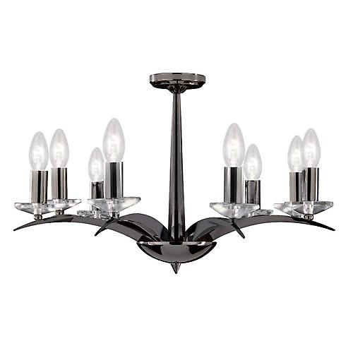 Searchlight 7548-8BC Kensington Black Chrome 8 Arm Chandelier With Crystal Sconces