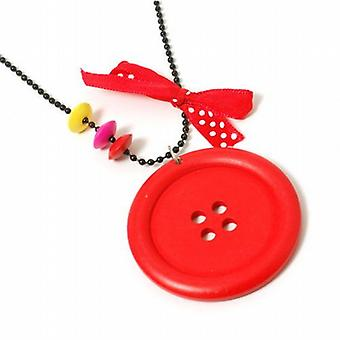 The Olivia Collection Girls Large Red Button Pendant On 26