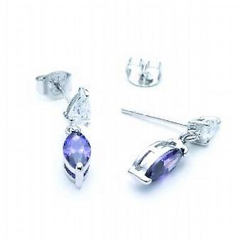 Jsuk Sterling Silver Clear Tear Drop and Oval Amethyst Cz Drop Earrings