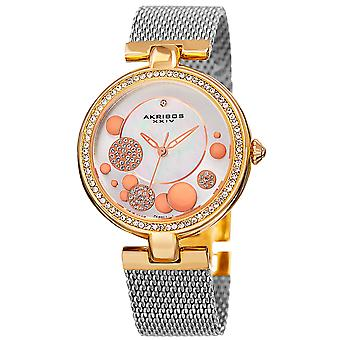 Akribos XXIV AK881TRI Women's Quartz Diamond Stainless Steel Mesh Bracelet Watch