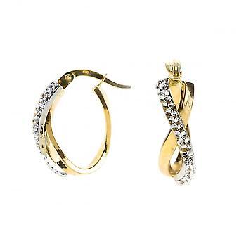 Evighet 9ct vitguld guld oval Crystal Hoop Örhängen