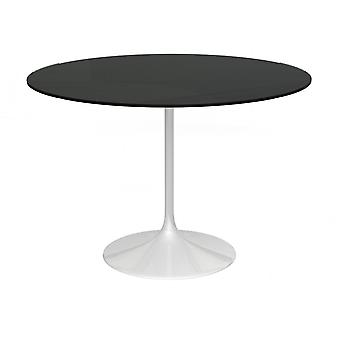 Gillmore Space Pedestal Large Dining Table Black Glass And White