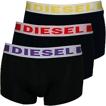 Diesel 3-Pack Contrast Waistband Bóxer Trunks, Negro