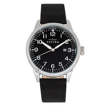 Elevon Bandit Leather-Band Watch w/Date - Black