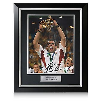 Martin Johnson Signed England Rugby Photo: World Cup Winner. In Deluxe Frame