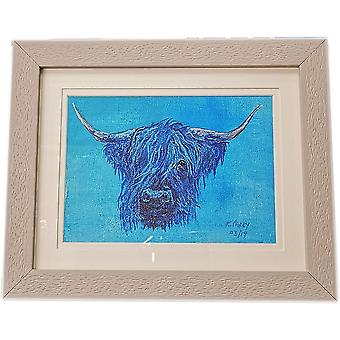 Keith Parry Highland Cow Original Acrylic Painting - Blue