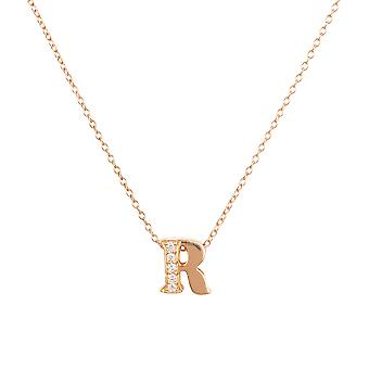 White Diamond Initial Pendant Necklace Letter Name Pink Rose Gold Personalised R