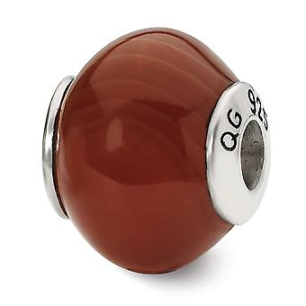 925 Sterling Silver Polished Antique finish Reflections Red Brown Agate Stone Bead Charm