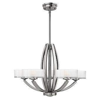 Meridian Modern 5 Arm Chandelier with Opal Glass Shade