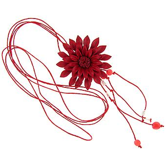 Red Leather Daisy Flower Pendant Necklace Accessory