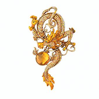 Butler et Wilson enlacées or Crystal broche Dragon chinois