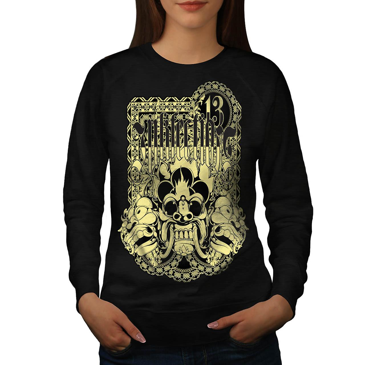 Ink Infection Tattoo Lucky Mask Women Black Sweatshirt | Wellcoda