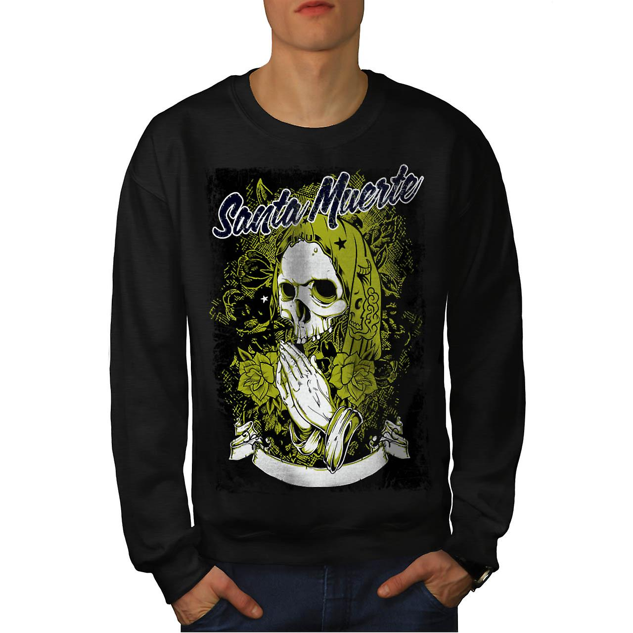 Santa Muerte Skull Death Rage Men Black Sweatshirt | Wellcoda