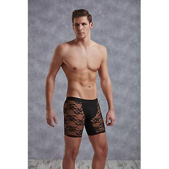 Long Fishnet Boxer With Floral Pattern-Black