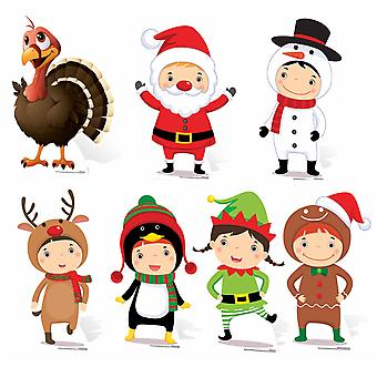 Mini Christmas Themed Cardboard Cutout Collection - Set Of 7 Cutouts