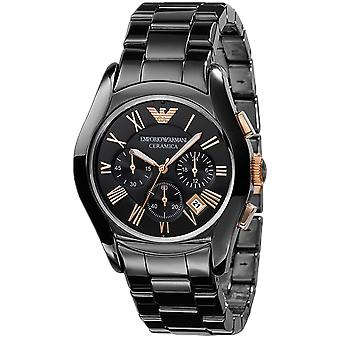 Emporio Armani AR1410 Noir & Rose or Ceramica Chronograph Watch