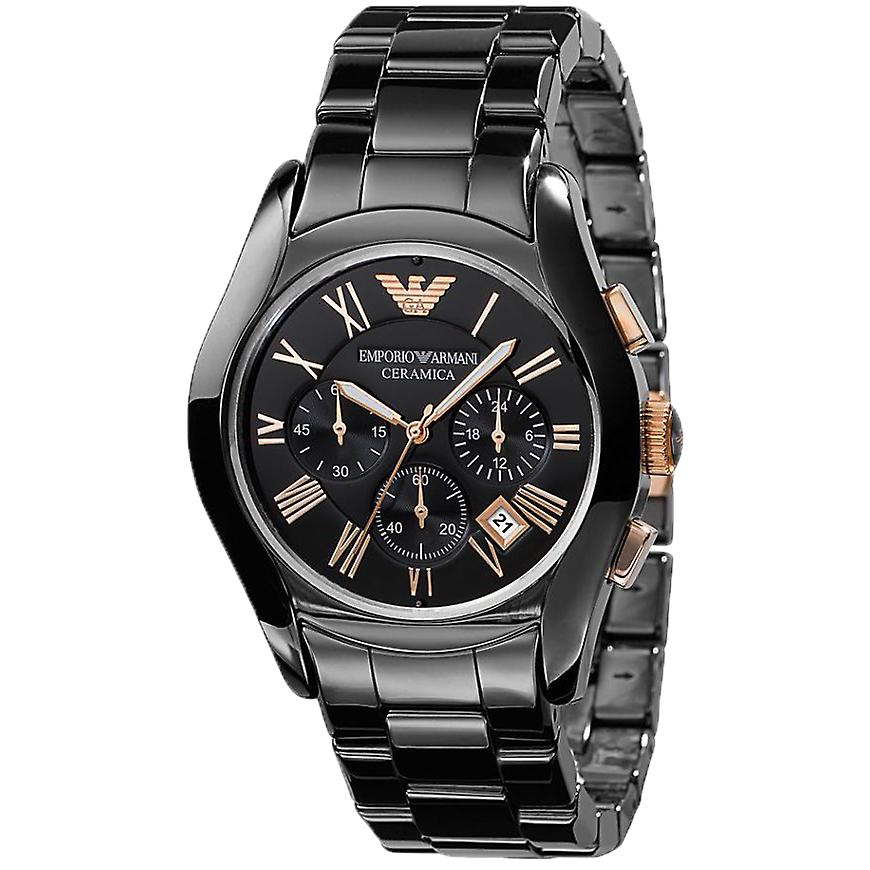 Emporio Armani AR1410 Black & Rose Gold Ceramica Chronograph Watch