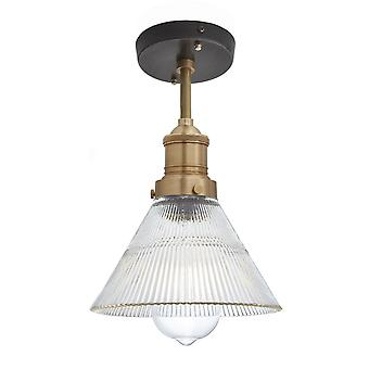 Brooklyn Vintage Antique Ribbed Glass Retro Funnel Flush Mount Light - 7