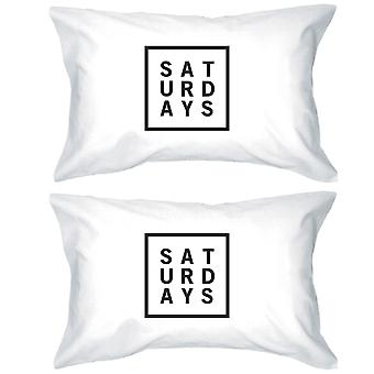 Saturdays Cotton Standard Pillow Case Unique Graphic Weekend Lovers