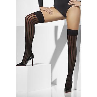 Overknees stockings black black with vertical stripes