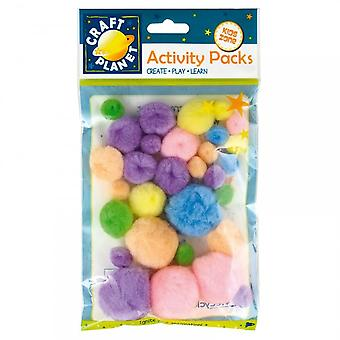 Craft Planet Pom Poms Pastel Shades - Pack Of 30