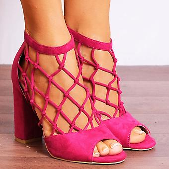 Koi Couture Pink High Heels - Ladies Db68 Fuchsia Pink Ankle Strap Caged Peep Toes Strappy Sandals High Heels