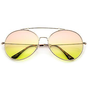 Oversize Metal Double Nose Bridge Slim Arms Gradient Round Lens Aviator Sunglasses 64mm