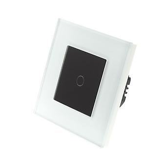 I LumoS White Glass Frame 1 Gang 1 Way Touch Dimmer LED Light Switch Black Insert