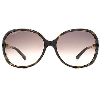 Cut Out Square Gucci Sonnenbrillen In Havanna Gold