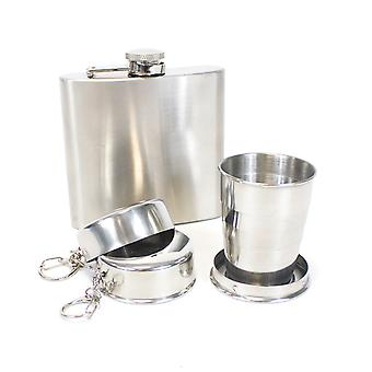 Yellowstone Hip Flask and Packable Cup Set Silver