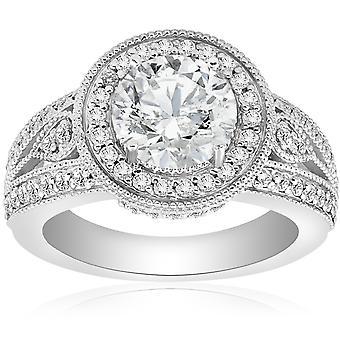 2,75 CT Vintage Halo diamant forlovelsesring 14K hvitt gull