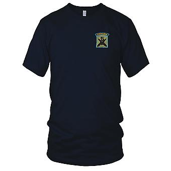5 Commando - Crossed Daggers - Blue Pipe Military Insignia Embroidered Patch - Mens T Shirt