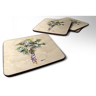 Carolines Treasures  8481FC Set of 4 Tree - Palm Tree Foam Coasters