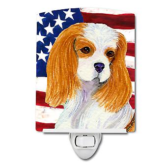 USA American Flag with Cavalier Spaniel Ceramic Night Light
