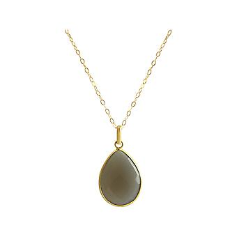Gemshine - women's - gold plated necklace - 925 Silver - drops - 60 cm - Moon stone - grey - CANDY-