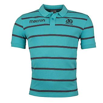 2017-2018 Schottland Macron Rugby Stripe Polo Reisehemd (Jade)