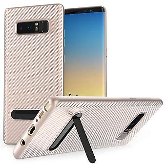 Samsung Galaxy Note 8 Carbon Fibre Stand Gel Case - Rose Gold
