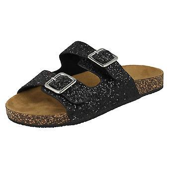 Tamaño de punto de niñas en brillo sandalias - sintético negro - Reino Unido 12 - UE tamaño 30 - tamaño de los E.E.U.U. 13