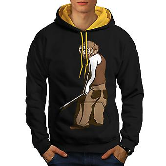 Monkey Man Men Black (Gold Hood)Contrast Hoodie | Wellcoda