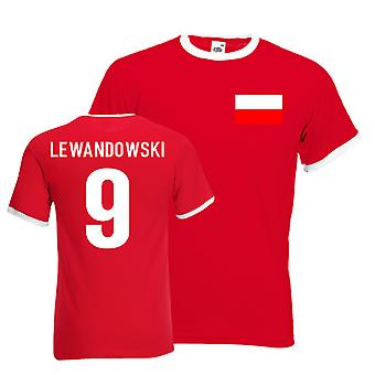 Robert Lewandowski Poland Ringer Tee (red)