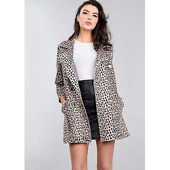 Palangre chaqueta marrón de gran tamaño de estampado de leopardo