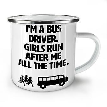 Handsome Bus Driver NEW WhiteTea Coffee Enamel Mug10 oz | Wellcoda