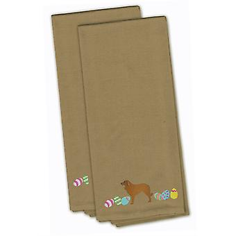 Estrela Mountain Dog Easter Tan Embroidered Kitchen Towel Set of 2
