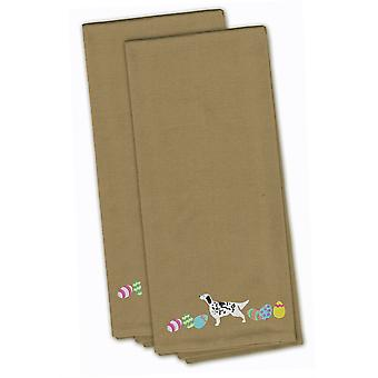 English Setter Easter Tan Embroidered Kitchen Towel Set of 2