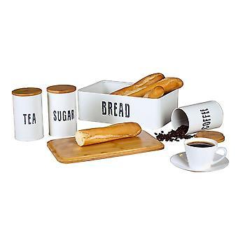 4pc White Retro Tea Coffee Sugar Storage Canister Jar Tin Bread Bin Set