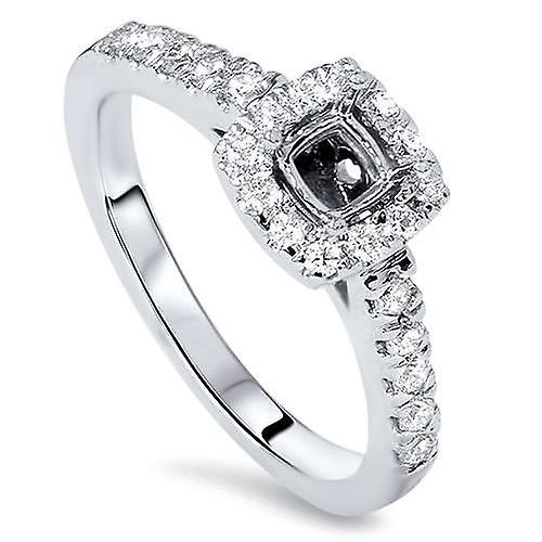 1 2ct Cushion Halo Diamond sacue Semi Mount 14K blanc or