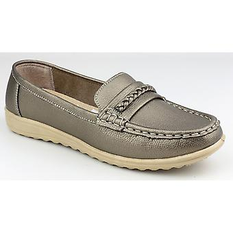 Amblers Ladies Thames Slip On Moccasin Style Shoe Pewter