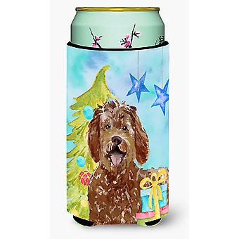Christmas Tree Labradoodle Tall Boy Beverage Insulator Hugger