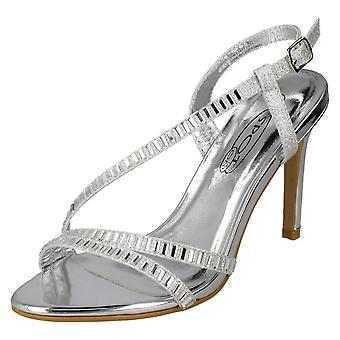 Ladies Spot On High Heel Diamante Sandals F10839 - Silver Textile - UK Size 3 - EU Size 36 - US Size 5