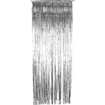 Foil Slashed Curtains Silver